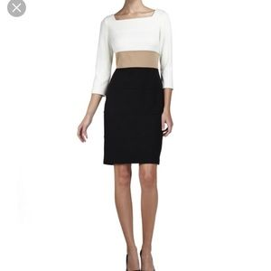 Kay Unger 3/4 Sleeve Colorblock Dress